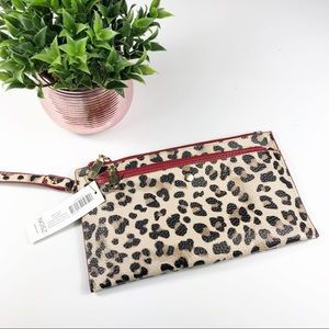 NEW Chico's Royal Leopard Red Wristlet Clutch